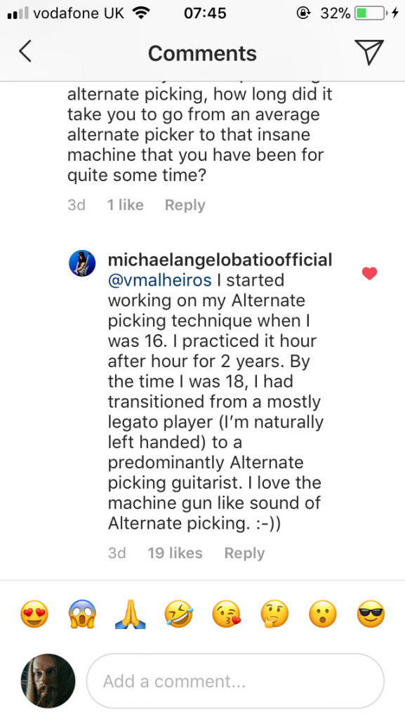 Michael Angelo Batio talking about alternate picking and learning guitar on instagram