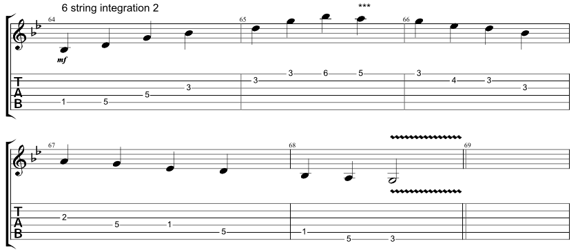 Guitar tab for integration exercise, combining 6 string hirajoshi scale with 5 string minor arpeggio, exercise 2