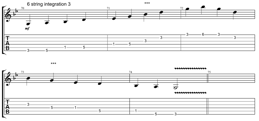 Guitar tab for integration exercise, combining 6 string hirajoshi scale with 5 string minor arpeggio, exercise 3