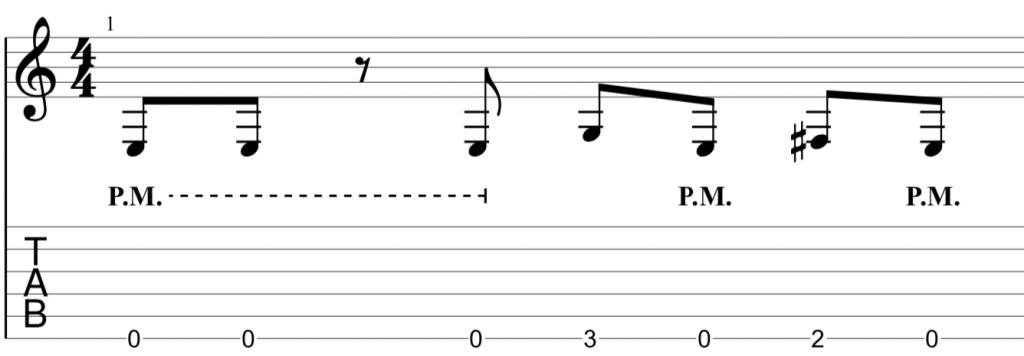 heavy metal guitar riff in e minor