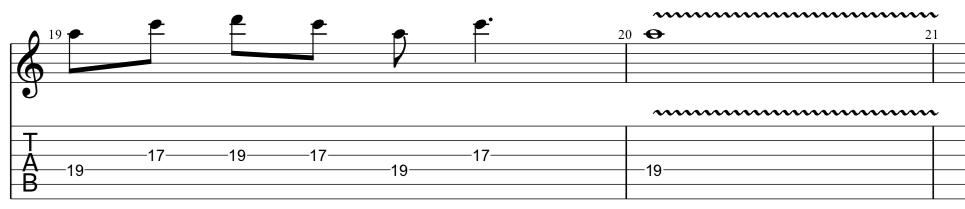 tab for final position of sequenced guitar lick used to release tension
