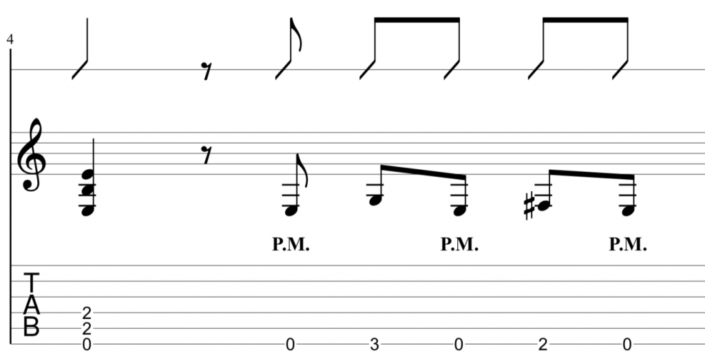 guitar riff variation with tab