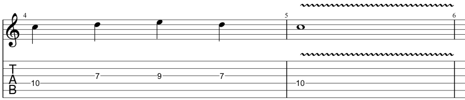tab for second position of our sequenced pentatonic lick