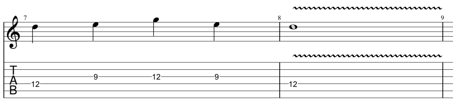tab for sequenced lick in 3rd position of minor pentatonic scale