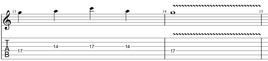 tab for sequenced lick in position 5 of the minor pentatonic scale